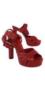 Gucci Red Leather Platform Heels Sandals