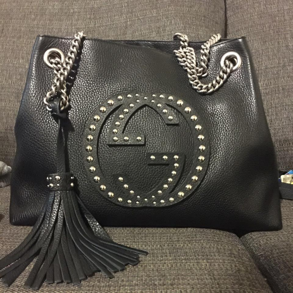 3c0d5a4cfee216 Gucci Chain Dionysus Sylvie Soho Studded Purse Black Leather Hobo Bag