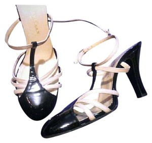Cole Haan Vintage Patent Leather Retro Strappy Black & Cream Pumps