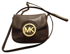 Michael Kors Leather Chocolate Clutch Cross Body Bag