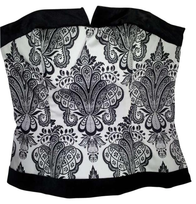 White House | Black Market Velvet Strapless Corset Top White and Black