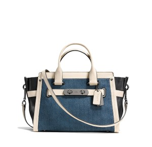Coach Swagger Carryall Satchel in Denim / White / Dark Antique Nickel