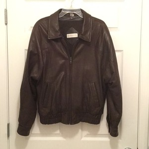 Andrew Marc Leather Bomber Leather Bomber Brown Leather Jacket