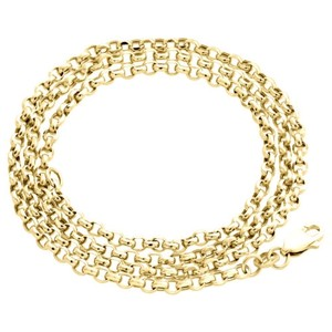 Real 10k Yellow Gold Open Circle Rolo Link Chain 2.50mm Necklace - Inches