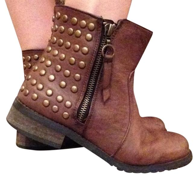 Item - Browm Gold Vegan Leather Studded Ankle Boots/Booties Size US 8 Regular (M, B)