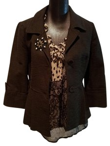 Ann Taylor LOFT Brooch Tweed Cropped Black Blazer