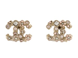 Chanel Gold-tone Chanel interlocking CC crystal enamel stud earrings