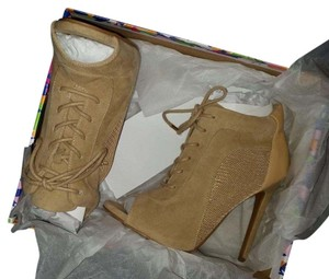 Shoe Republic LA Suede Lace Mesh Tan Boots