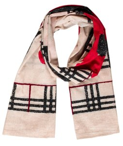 Burberry Beige, black multicolor Burberry Nova Check floral print scarf