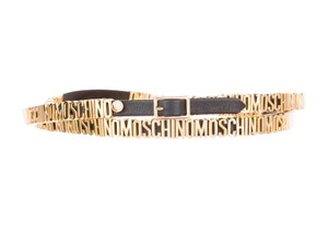 Moschino Black leather Moschino gold tone charms double wrap belt XS