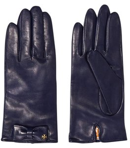 Tory Burch Tory Burch Leather Bow Gloves - Blue 8.5