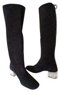 Miu Miu Crystal Embelished Size 10 Knee High Black Boots