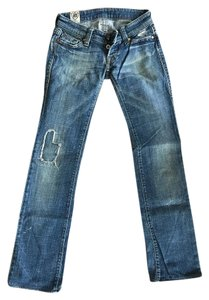 HTC Vintage Distressed Low Rise Flare Leg Jeans-Distressed