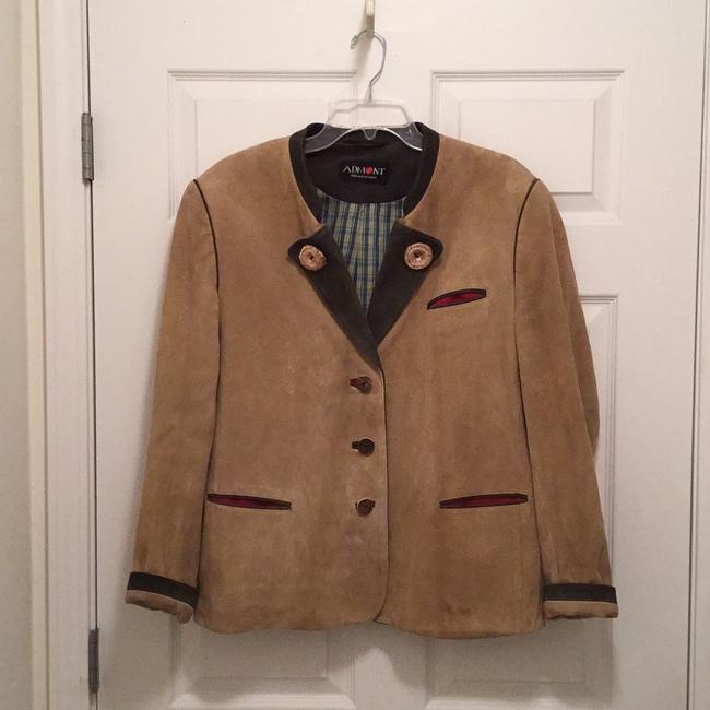 well-wreapped Suede W/unique Antler Details Hand Made In Germany Beige Grey Jacket #20250514 - Jackets