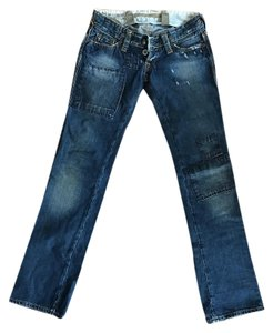 HTC Patchwork Distressed Vintage Low Rise Boot Cut Jeans-Distressed
