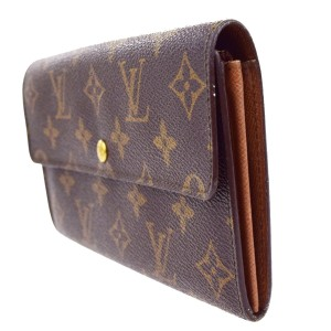 Louis Vuitton Credit Long Bifold Wallet Purse Monogram Brown M61725 Mens Clutch Bag
