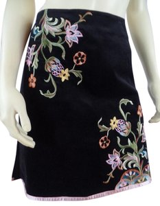 Boston Proper Floral Embroidered Velvet Unlined New Skirt Black, Floral