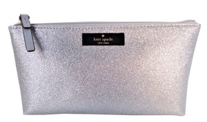 Kate Spade Little Shiloh Silver Glitter Cosmetic Bag Clutch Pencil Pouch NWT