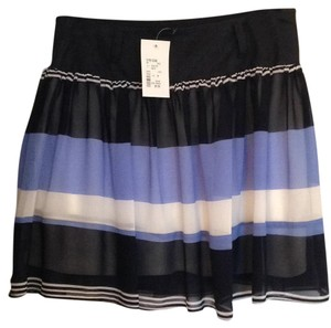 Double Zero Mini Skirt Black, blue and white striped