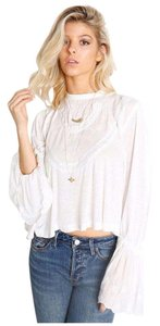 Free People Lace Bell Sleeves Top White