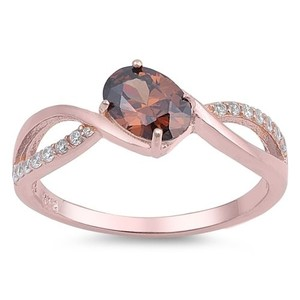 9.2.5 Stunning rose gold silver brown topaz infinity ring size 7
