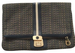 Marc by Marc Jacobs Monogram Leather Classic Exclusive Oversized Navy Blue, Ivory, Gold Clutch