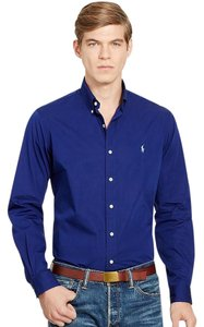 Polo Ralph Lauren Logo Cotton Button Down Shirt SOHO BLUE