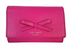 Kate Spade Callie Leather Wallet Bow Clutch in Gift Box NWT Snapdragon Pink
