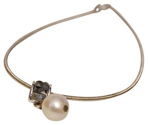 Carolee Carolee 925 Sterling Silver Drop Pearl Marcasite Pendant Necklace