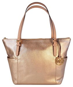 Michael Kors Top Zip Shoulder Tote in Gold