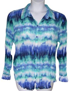 Chico's Krinkle Colorful Career New Button Down Shirt multicolor