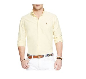 Polo Ralph Lauren Logo Cotton Button Down Shirt YELLOW