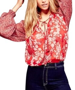 Free People Sheer Top Red