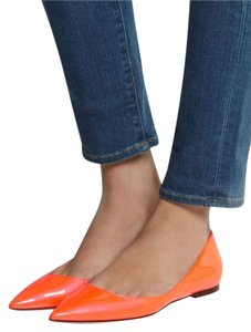 Jimmy Choo Patent Leather Orange Designer Neon Orange Flats