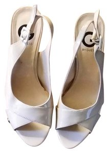 Guess Patent Leather Signature Strappy Natural Platforms
