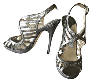 Jimmy Choo Snakeskin Wedding Sandal silver Pumps