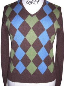 Folio Cashmere V-neck Argyle Sweater