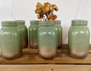 10 Sage & Rose Gold Quart Size Mason Jars & Table Numbers (1-10)