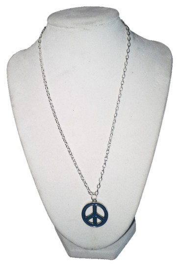 "Handmade Handmade Blue Peace Sign Stainless Steel 18"" Chain Necklace"