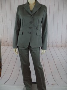 Akris Punto Akris Punto Suit 8 Greenish Gray Pant Blazer Top 3Pc Set