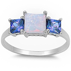 9.2.5 Gorgeous opal and tanzanite square cocktail ring size 7