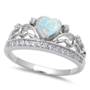 9.2.5 Unique opal and white sapphire royal crown ring size 8