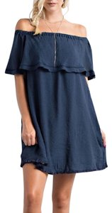 Southern Girl Fashion short dress Blue Mini Swing Tunic Bohemian Festival Winter Fall Spring Off Tie Ruffle Overlay on Tradesy