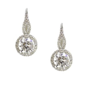 Other 18K White Gold 1.79Ct Diamond Dangle Earrings 3.6 Grams