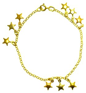 18K Tricolor Gold Star Charms Bracelet 5.9 Grams 7