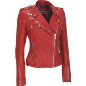 Black Rivet Red Leather Jacket