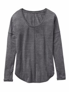 Athleta Dark Heathered Gray Studio Scoopneck Yoga Fitness Top Sz XL
