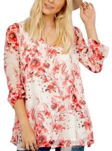 Southern Girl Fashion Bohemian Festival Swingy Print Fall Winter Urban Chic Loose-fitting Banded Top Pink