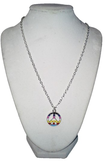 """Handmade Handmade Mulit-Color Peace Sign Stainless Steel 18"""" Chain Necklace"""