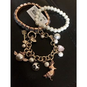Betsey Johnson NEW Pearl Critters Charm Bracelet Set